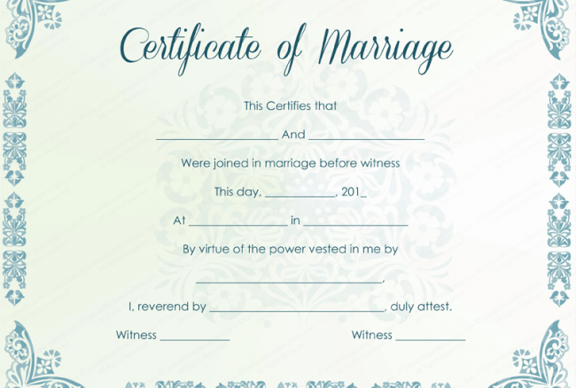 photo relating to Printable Marriage Certificate titled Printable-Romance-Certification-4-650x502 Biznet